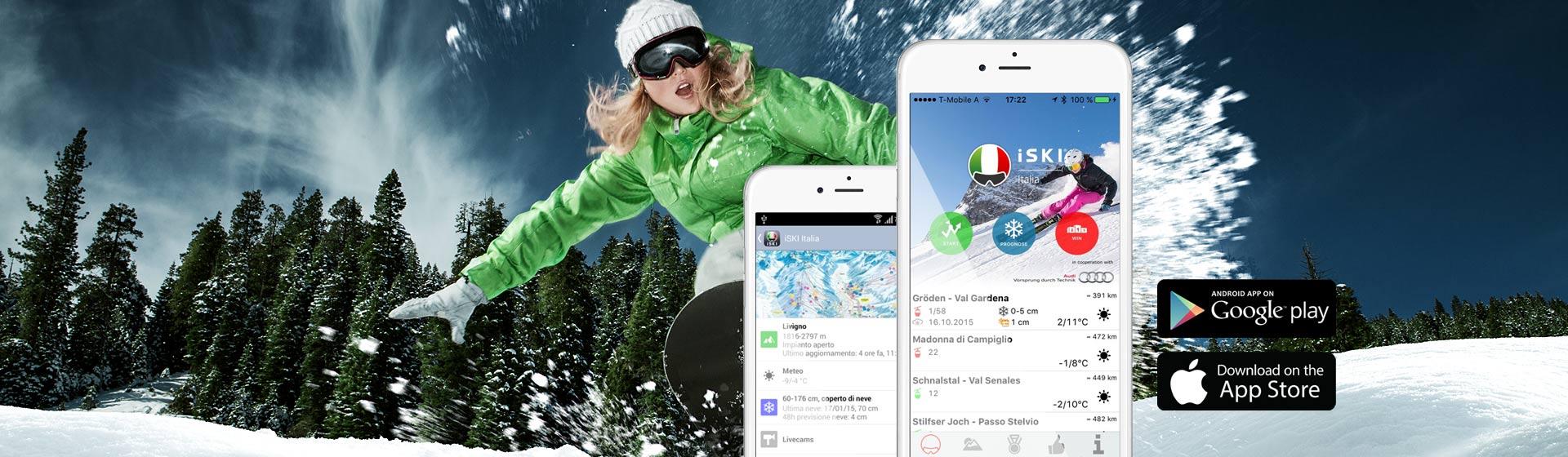 Lyžařská aplikace iSKI Italia